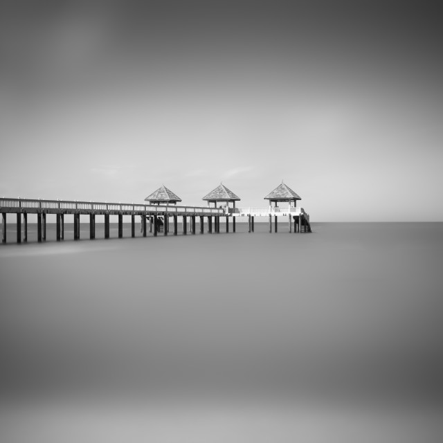 """Jetty in black and white"" stock image"