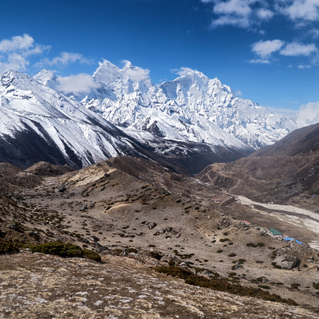 """Barren Landscape & Snowy Mountains (Himalayas)"" stock image"