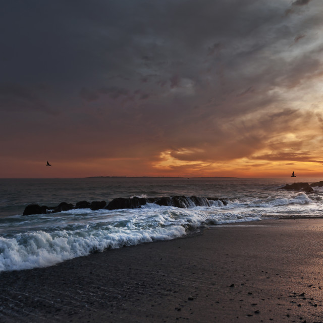 """Sunset at Bloubergstrand Beach"" stock image"