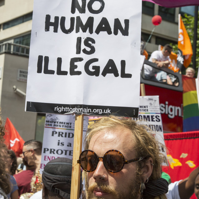 """""""No Human Is Illegal"""" stock image"""