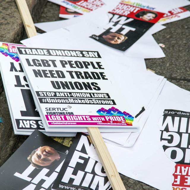 """LGBT People Need Unions"" stock image"