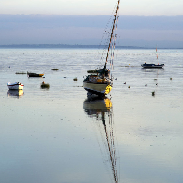 """Boat Reflections at Leigh-on-Sea (I)"" stock image"