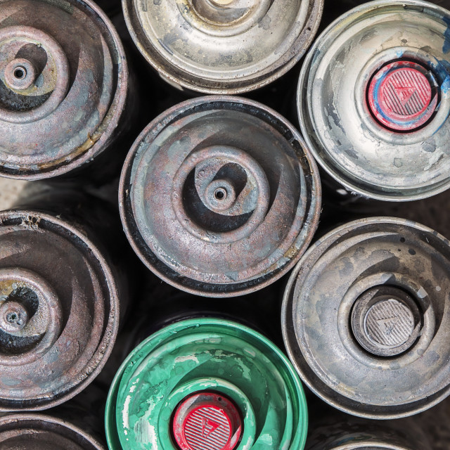 """""""Old Rusty Spray Cans"""" stock image"""