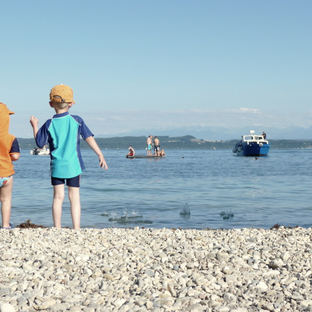 """""""Kids in holidays at the lake"""" stock image"""