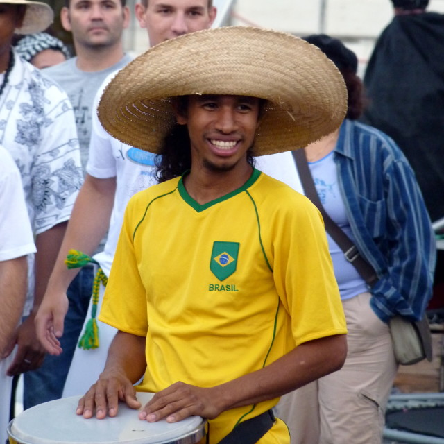 """Smiley brasilian with drum"" stock image"