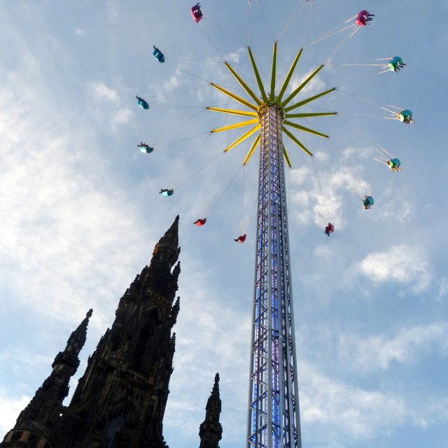"""Scott Monument and his friend the Star Flyer"" stock image"