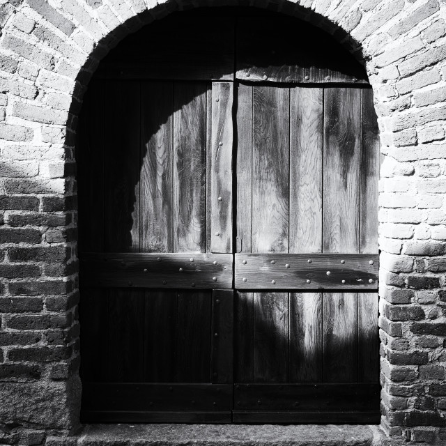 """Medieval Wood Door. Black and White"" stock image"