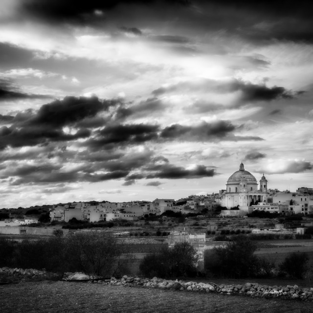 """Mgarr Parish Church HDR Monochrome"" stock image"