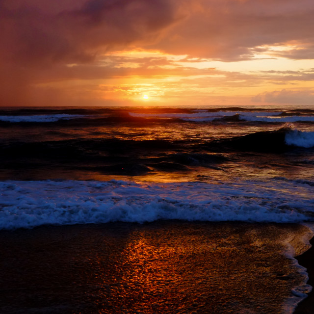 """Waves at sunset 3"" stock image"