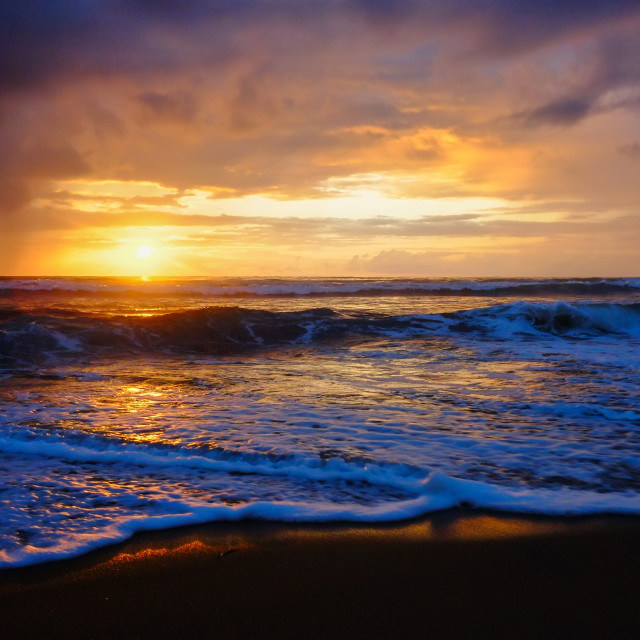 """Waves at sunset 2"" stock image"