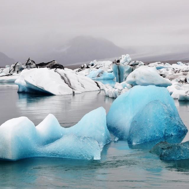"""Blue Iceberg in Jakulsarlon Lagoon"" stock image"