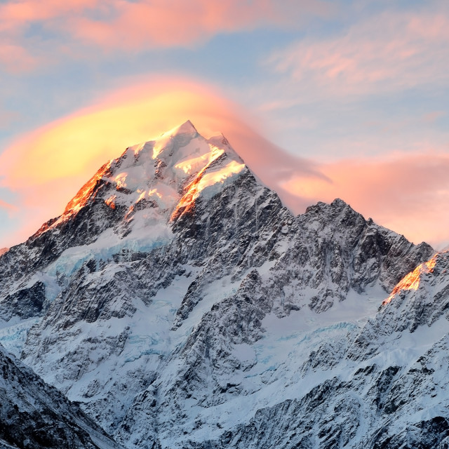 """Sunset at Snow capped Mount Cook"" stock image"