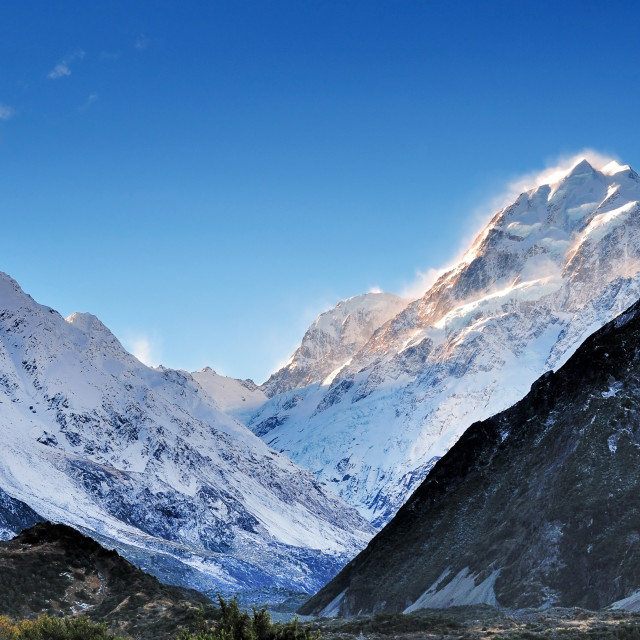 """Snow capped Mount Cook in New Zealand"" stock image"