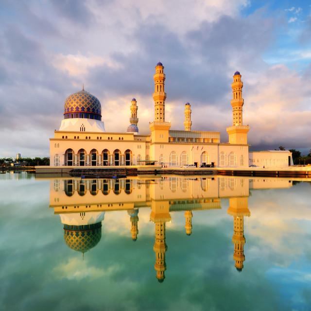 """Floating mosque in Kota Kinabalu, Sabah Borneo."" stock image"