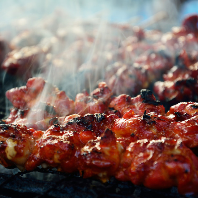 """Chicken satay barbeque"" stock image"