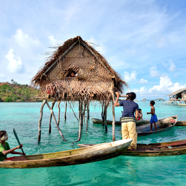 """Sea gypsies in Sabah Borneo"" stock image"