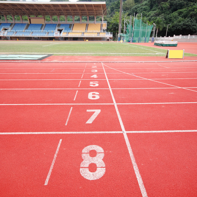 """""""Stadium main stand and running track"""" stock image"""