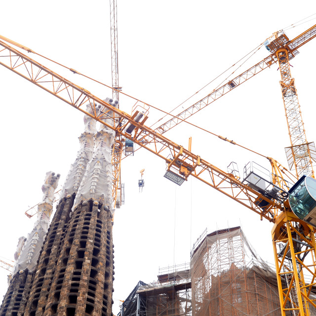 """cranes on sagrada familia"" stock image"