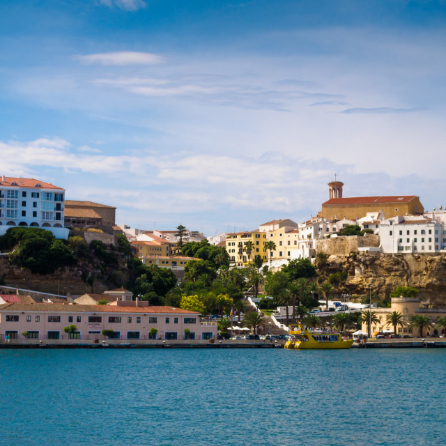 """""""View of the old town of Mahon the capital of Menorca, Spain"""" stock image"""