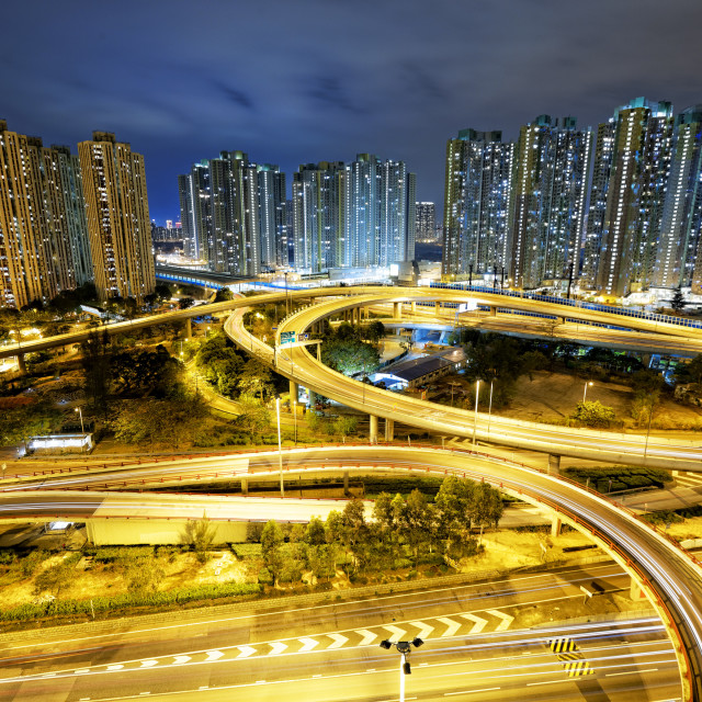 """Hong Kong traffic night"" stock image"