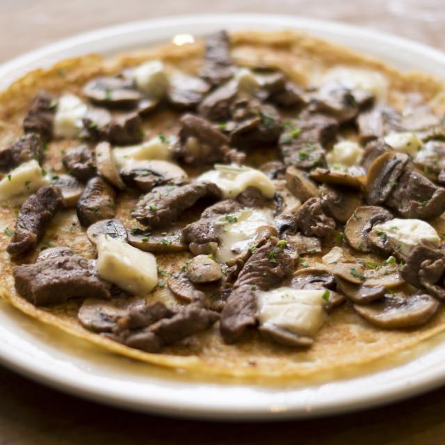 """""""savoury pancake with steak"""" stock image"""
