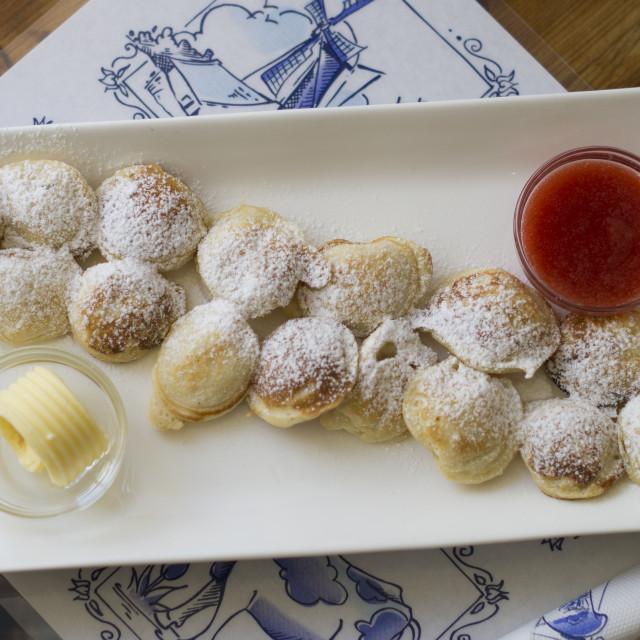 """Mini puff pancakes (poffertjes)"" stock image"