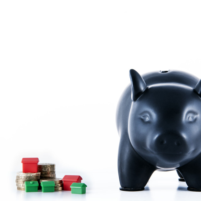 """Black Piggy Bank"" stock image"