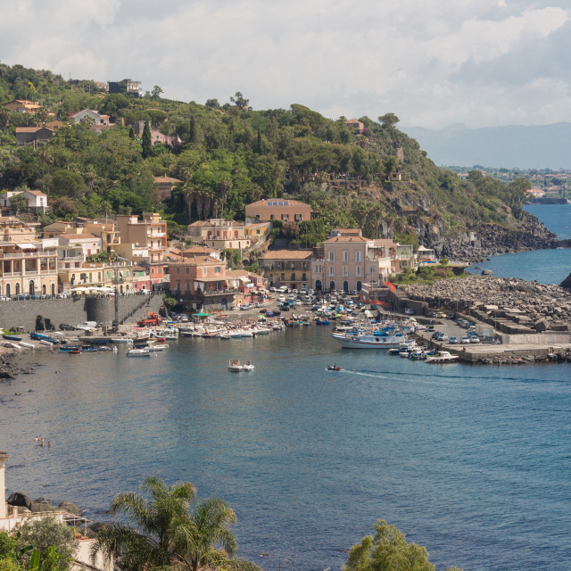 """""""Sea port and houses in Sicily."""" stock image"""