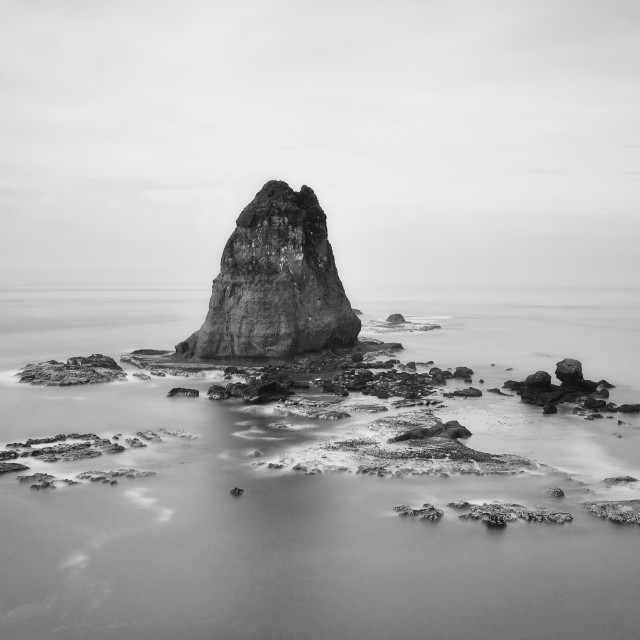 """Black and White Seascape in Long Exposure"" stock image"