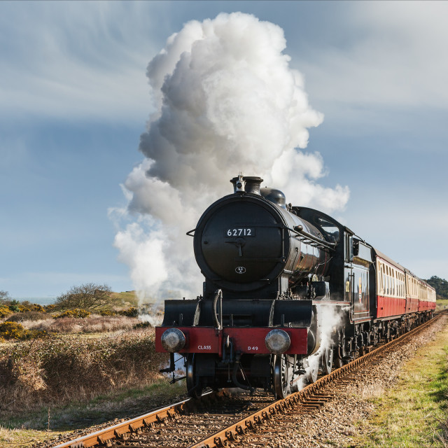 """Steaming across Norfolk"" stock image"