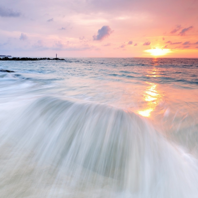 """Sunset, Waves and Beach"" stock image"