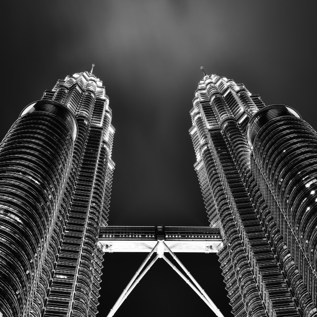 """""""Twin towers in black and white"""" stock image"""