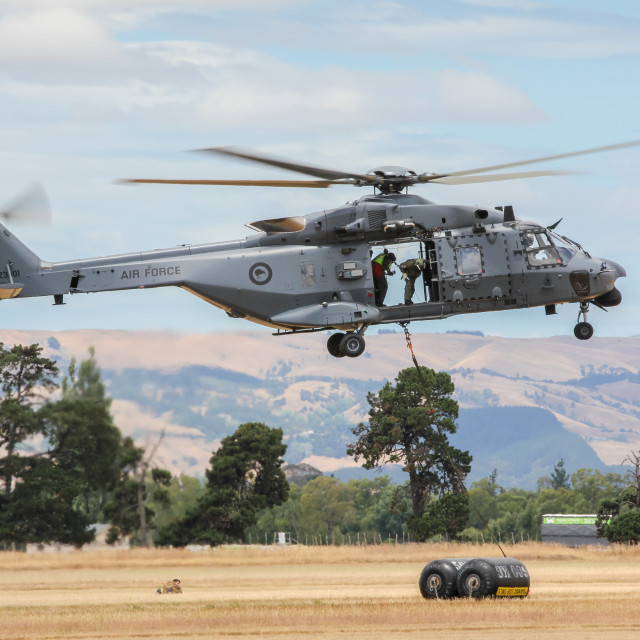 """""""NH90 helicopter hovering"""" stock image"""