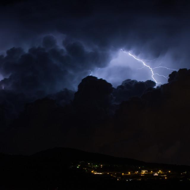 """Lightning Over Son Caliu"" stock image"