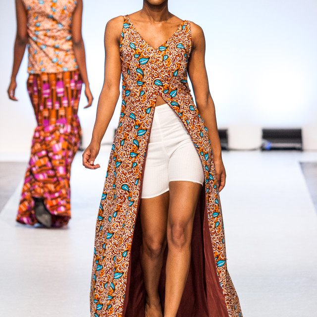 """Model wearing Asake Oge collection on runway"" stock image"