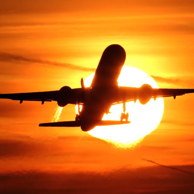 """""""Sunrise Takeoff"""" stock image"""