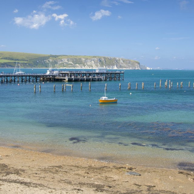 """Swanage Piers - Old and New"" stock image"