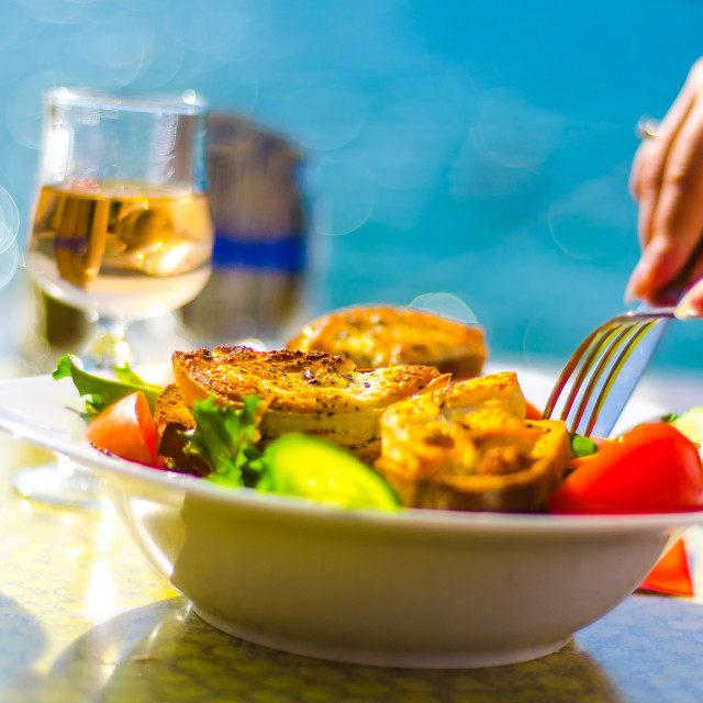 """""""An al fresco French Lunch by Lake Annecy"""" stock image"""