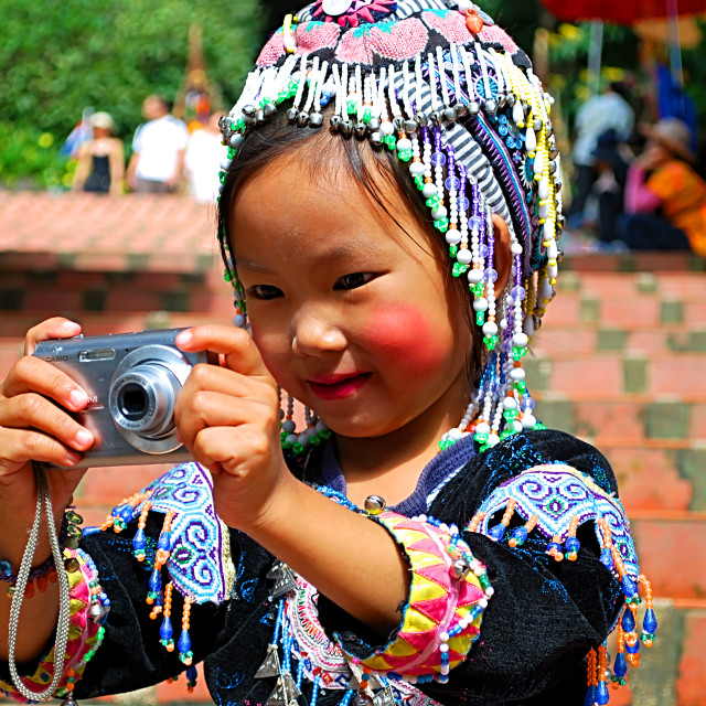 """Hill Tribe Girl At Doi Sutthep, Chiang Mai, Thailand"" stock image"