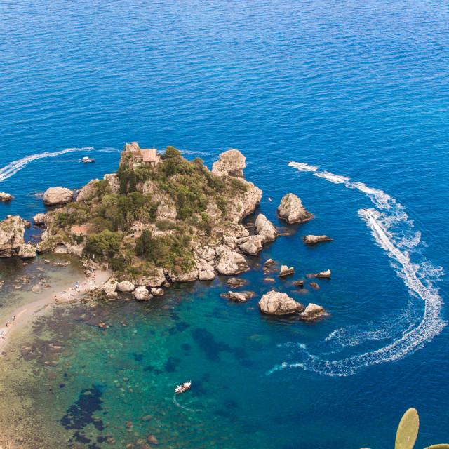 """Italy: Aerial view of island and Isola Bella"" stock image"