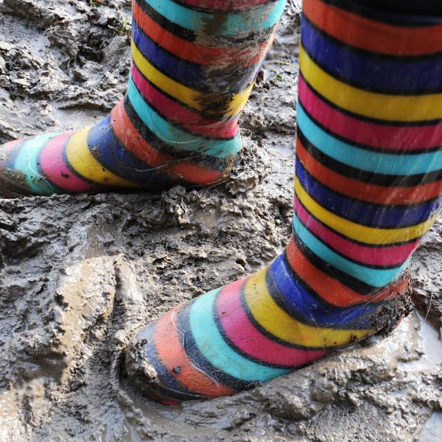 """""""Muddy Wellies"""" stock image"""