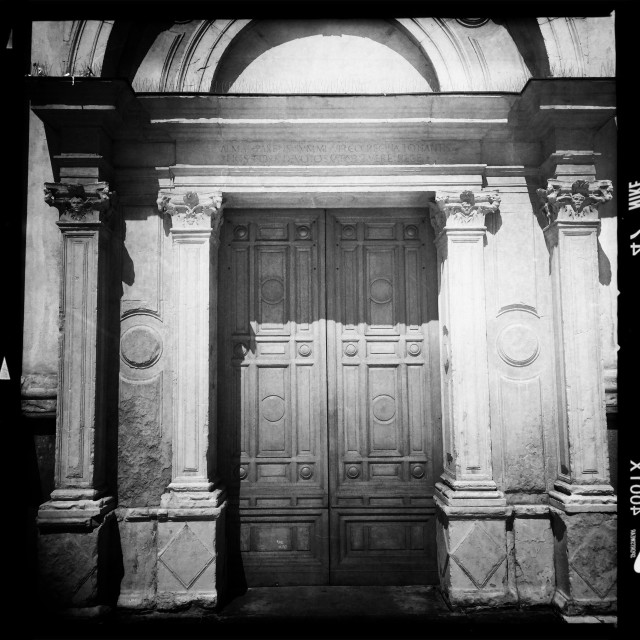 """Old door of church"" stock image"