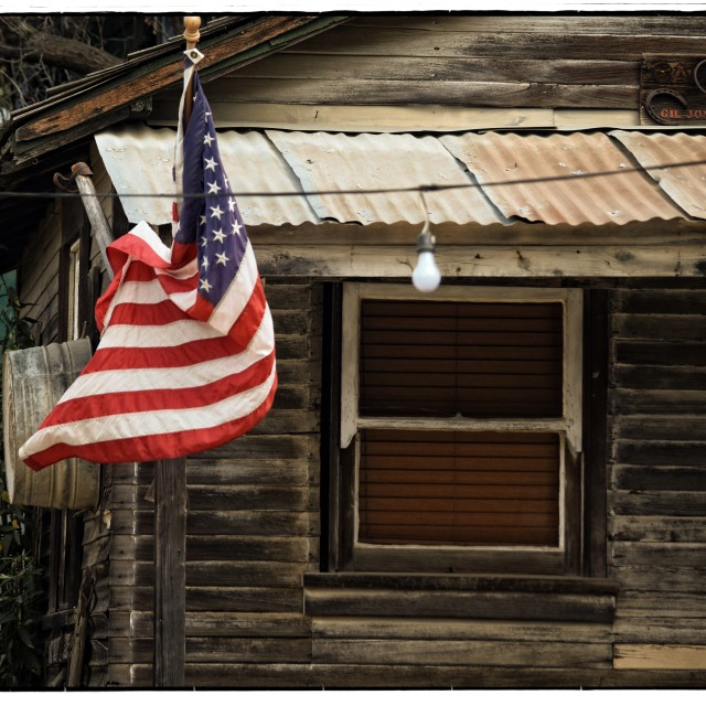 """Barn with American Flag"" stock image"