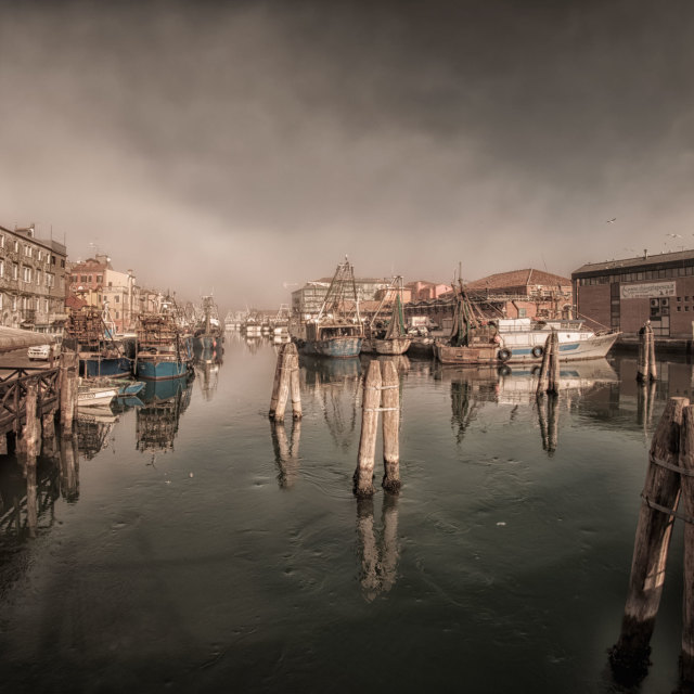 """Fishing boats in Chioggia"" stock image"