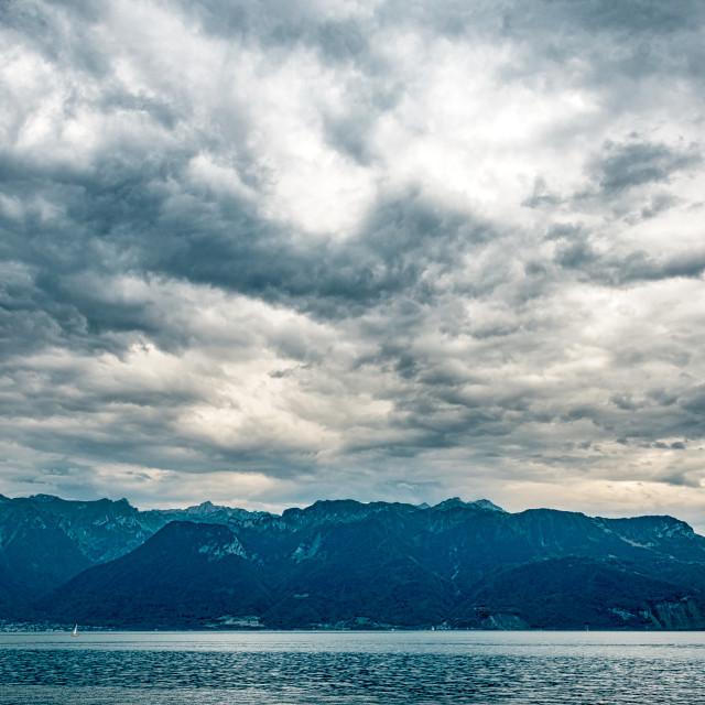 """Across The Lake Near Lausanne"" stock image"