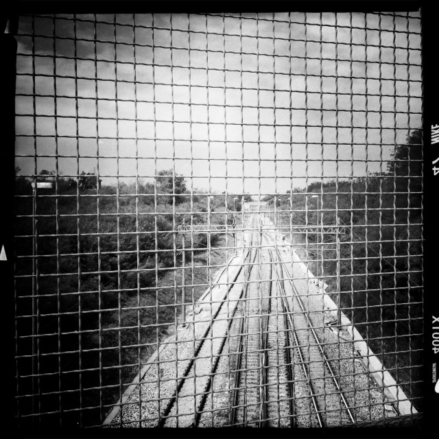 """Railroad. Black and white"" stock image"