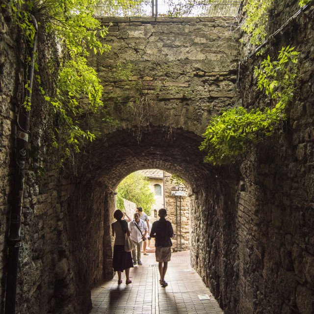 """Tunnel in san gimignano"" stock image"