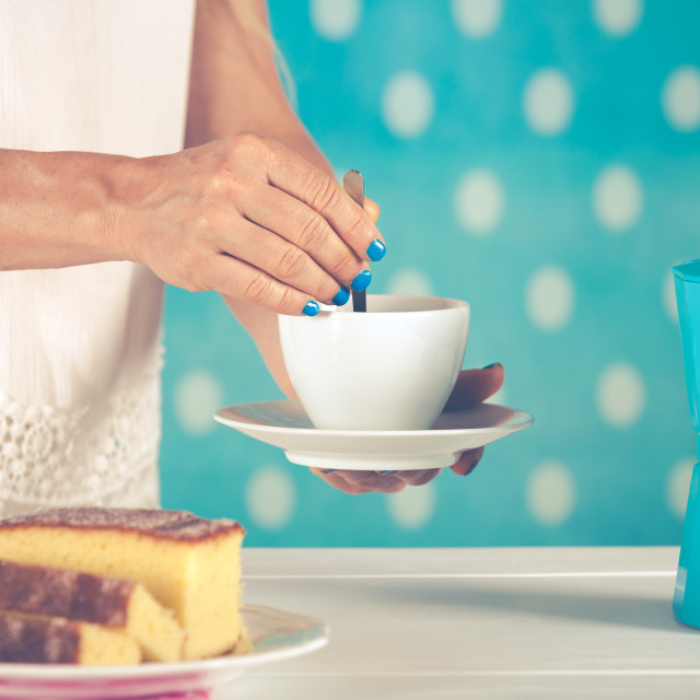 """""""Woman serving coffee"""" stock image"""