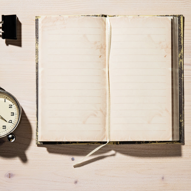 """Open Notebook, Pencil and Clock"" stock image"