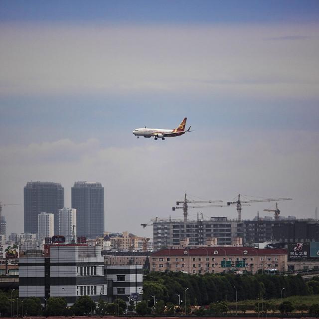 """Landing in Shanghai"" stock image"